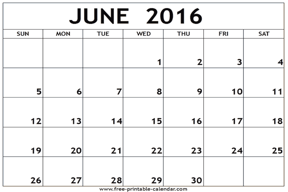 photo about Printable June named june-2016-printable-calendar -