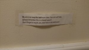 "Clever note in our bathroom at ""The Circus."""